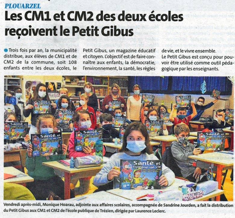 Les CM1 et CM2 de Plouarzel reçoivent le Petit Gibus !